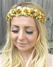 Gold Rose Flower Garland Headband Hair Crown Festival Boho Floral Headpiece 1859