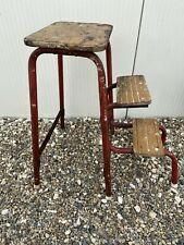 Vintage Retro Industrial Folding Steps Stool Red Tubular Distressed Metal Framed