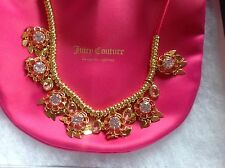 JUICY COUTURE CHARM ROPE NECKLACE ADJUSTABLE LENGTH RHINESTONES GOLD TONE  NEW