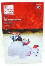 Home Accents Inflatable Airblown Polar Bear & 3 Penguin Scene 6 ft Pre-Lit LED