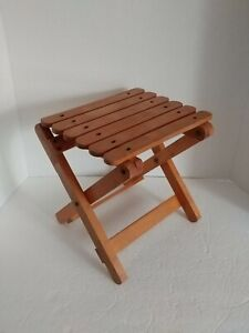 Mid-century Modern Plant Stand Folding Doll Bench vintage oak minimalist riser