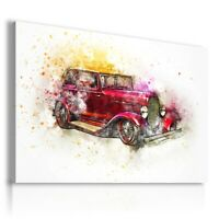 PAINTING DRAWING CARS VINTAGE PRINT Canvas Wall Art Picture R64 UNFRAMED