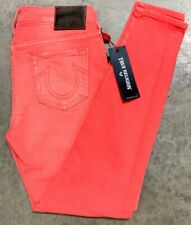 TRUE RELIGION WOMENS JEANS SIZE 26 LIGHT RED MID RISE SUPER SKINNY MADE USA NWT