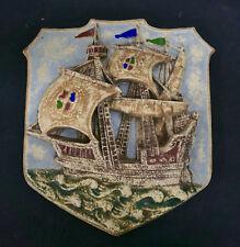 Large Shield or Coat of Arms Ship Tile Vintage