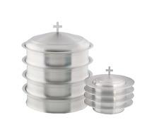 Communion Ware 4 Tray and 4 Stacking Bread Plate + 1 Lids (S.S. Matt Finish)