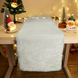 Faux Fur Christmas Table Runner Winter Snowy White Xmas Holiday Table Decoration