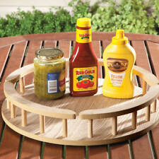 "Large 16"" Rotating Wooden Table Top Lazy Susan & Rail Condiment Spice Wood Tray"