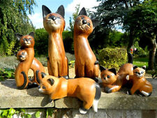 More details for wooden cat carvings - assorted hand carved cats & kittens