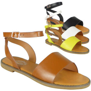 Gladiator Sandals Shoes Flats Open Toe Ankle Strap Studded Summer Ladies Sizes