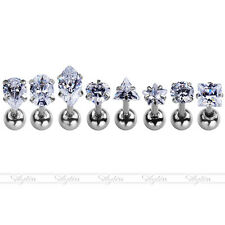 8pc 4mm CZ Crystal Gem Steel Ear Cartilage Helix Tragus Barbell Earring Piercing