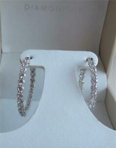 DIAMONIQUE 21 CZ STONES 3.0ct STERLING SILVER HOOP 3.2cm EARRINGS NEW BOXED QVC