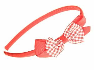 Red School Headband Alice Hair Band With Gingham Bow