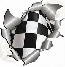XLarge Metal Rip Torn Chequered Flag Sticker JDM Race Car Van Boat Bike VW Drift