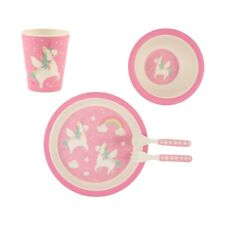 Rainbow Unicorn Bamboo Children's Toddlers Plate Bowl Cup Cutlery Set Sass Belle