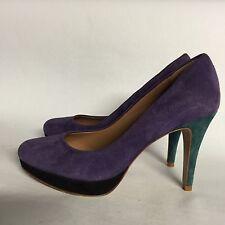 Elie Tahari Blair Suede Purple Turquoise Pumps 35 US 4.5-5 Nice!
