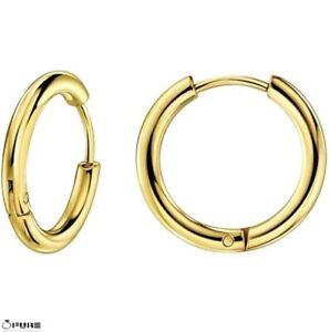 18mm Gold Hypoallergenic Cartilage Huggie Earrings Piercing Unisex Hoop Earrings