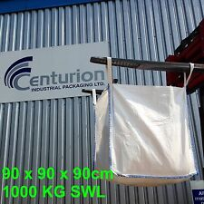 100 FIBC BUILDERS BAGS, 90x90x90, ONE TONNE Brand New, white, AGGREGATES, WASTE