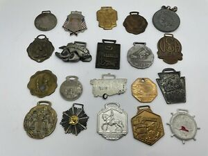 ESTATE LOT OLD POCKET WATCH FOB LOT OF 20 HEAVY MACHINERY GOOD YEAR & MORE