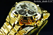 Invicta 50mm Excursion TWISTED METAL Swiss Chrono High Polish Gold Tone SS Watch