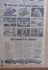 1963 newspaper ad for Rambler, photos of features, Ambassador, American, Classic