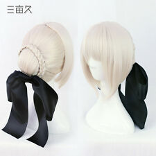 Fate Stay Night Saber Alter Cosplay wig + Black bow New Light Gray hair Costume