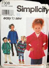 SIMPLICITY SEWING PATTERN 7308 CHILDS SET OF JACKETS SIZES 3-6 UNUSED