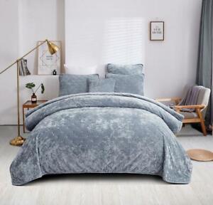 Tache Luxury Soft Plush Velvet Light Blue Diamond Tufted Coverlet Bedspread Set