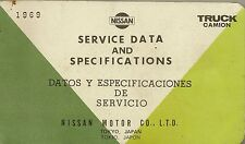 Service data and specifications, Nissan motor co, 1969, truck, camion