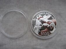 Jamaica: 100 Dollars  1987 silver 4.0468 oz  streamer -tailed Humminggbird PROOF