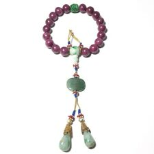 New listing Chinese Antique Ruby & Jadeite Beads Hand String Bracelet