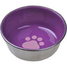 Ss Non-Skid Cat Dish W/ Decorated Enamel Interior