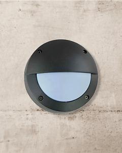 Half Moon Eyelid Grey Mini Bulkhead Wall Lights Garden IP65 Waterproof G9