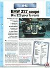 BMW 327 Coupe Cabriolet 6 Cyl. 1938 Germany Car Auto Retro FICHE FRANCE