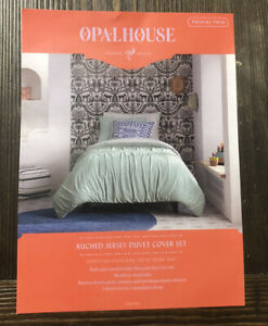 OPALHOUSE RUCHED JERSEY DUVET COVER SET TWIN TWIN XL JADE NEW SOFT