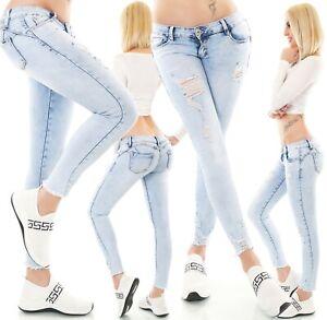 Women's Sexy Blue Skinny Slim Low Waist Jeans Pants Size UK 6,8,10,12,14