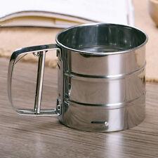 Stainless Steel Mesh Flour Sifter Sieve Strainer Cake Baking Kitchen Helper Prop