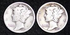 1923-P & S 2 COIN FULL SET MERCURY DIME / CIRCULATED GRADE GOOD / VERY GOOD