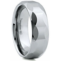Men's 8mm Wide Tungsten Carbide Band Comfort Fit Ring Geometric Design - TCR023