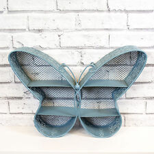 Blue Metal Butterfly Decorative Wall Storage Display Shelf Unit Shabby Chic
