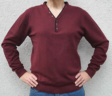 Pullover mit Knopfleiste - NEU - L - Bordeauxrot - Y Neck Henley Stickpulli rot
