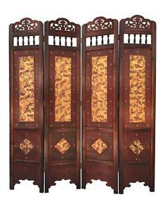 Vintage Gold Leaves Room Divider Screen 4 Panel Wooden Frame