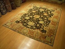 8 x 10 Hand knotted Oushak Rug _Vegetable Dyes Hand Spun Fine Quality Soft Wool