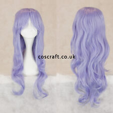 Long wavy curly cosplay wig with fringe in lilac, UK seller, Charlie style