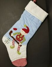 Pottery Barn Kids ELF Hockey Christmas Quilted Stocking RED Gingham Toe