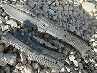 2 Stk. 3 in 1 Einhandmesser Paracord + Feuerstarter schwarz Messer Taschenmesser