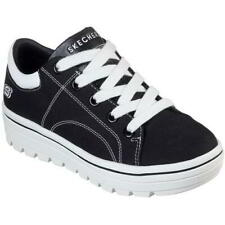 Skechers Street Cleat Womens Ladies Black Canvas Lace Up Trainers Shoes Size 4-8