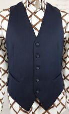 Vtg Mens Single Breast Blue Pinstripe Wool Blend Waistcoat -38- ES70