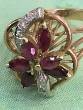 Red Ruby And Diamond Ring. Sz. 4 Estate 14K Yellow Gold Six Natural Marquise