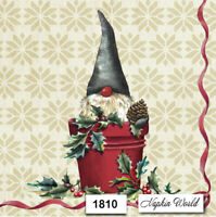 (1810) TWO Individual Paper LUNCHEON Decoupage Napkins - CHRISTMAS GNOME BUCKET