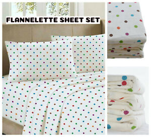Love2Sleep THERMAL FLANNELETTE SHEET SET: FITTED, FLAT AND PILLOWCASE- POLKA DOT